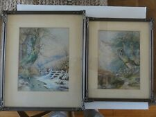ORIGINAL FRAMED PAIR OF WATERCOLOURS 1870 SIGNED M.P. WINTER & SPRING