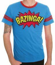 Adult Blue The Big Bang Theory Comic Book Type Bazinga Striped Sleeves T-shirt