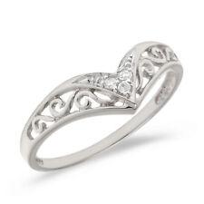 10K White Gold Filigree Band Diamond Chevron Ring (Size 6.5)