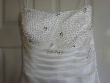 NEW White Wedding dress with lace up back, pearl and crystal detail size 14-16