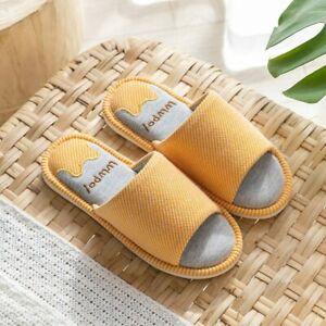 Women Linen Anti-slip Slipper Autumn Home Couple Shoes Indoor Open Toe Bedroom