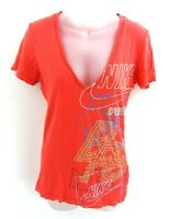 NIKE Womens T Shirt Top S Small Red Cotton & Viscose