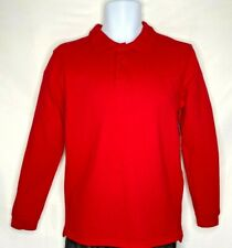GEORGE | Boys School Uniform Long Sleeve Polo Shirt | Red (Size: 14-16) New!