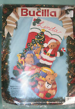 Bucilla Felt Christmas Stocking Kit 83008 Teddy Collection Santa Bears Tree
