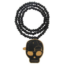 "WOODEN SNAPBACK SKULL PENDANT PIECE w/ 36"" CHAIN NECKLACE BEAD GOOD WOOD STYLE"