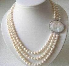 Genuine 3 Rows 7-8MM Freshwater pearl Necklace Cameo Clasp+ free jewelry box