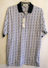 Cross Basics Mens Golf Polo Shirt size LARGE Blue White Cotton Casual NEW w TAGS