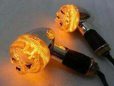 Chrome/Clear LED Skull Bullet Turn Signal Light for Honda Yamaha Suzuki Kawasaki