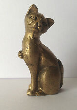 Statuette CHAT DEBOUT figurine amulette miniature animal laiton Cambodge Asie a2