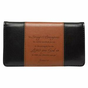 Checkbook Cover for Women & Men ?Strong & Courageous? Christian Black and Tan