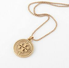 Tory Burch Coin Logo Pendant Gold Necklace New
