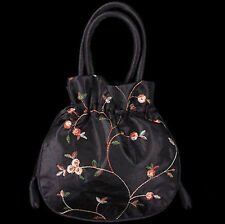New Women's Black Handmade Embroidered Flower Silk Jewelry Bag Purse Pouches