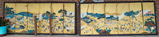 Antique Pair Massive Japanese Folding Wall Floor Screens Procession Festival