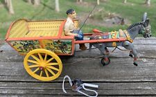 Vintage Western Germany Windup Toy Mule Pulling Cart W/driver-tin-composition