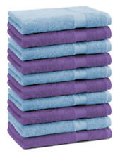 Lot de 10 serviettes débarbouillettes Premium couleur: bleu clair & lila