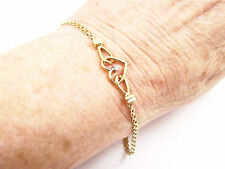 RETRO 14K YELLOW GOLD HEART BRACELET WITH DIAMOND AND DUAL CHAIN LINKS, 6 7/8""