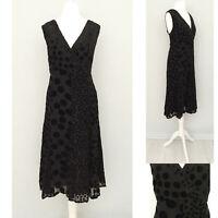 East Dress 12 Black Silk Blend Midi V Neck Polka Dot Formal Evening Party Cruise