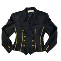 Lavantino Womens Blazer Jacket Black Gold Buttons Short Double Breasted Fitted 4