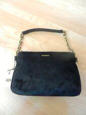 Fossil Memoir Cowhide Top Zip Black Handbag MSRP $148