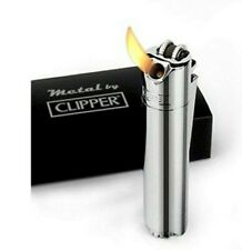 Clipper Metal Cigarette Lighter -45 Angle Soft Flame Butane Gas Refillable w/Box