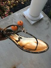 NIB Chanel Thong Gold Fantasy Sandals CC Logo T Strap Size 36.5