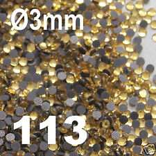 500 Strass thermocollants S10 Rhinestone hotfix 3 mm couleur doré clair  n°113