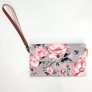 "Handmade Pink Gray Rose Floral Canvas Flap Envelope Wristlet Bag 7.5"" x 4.5"""