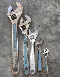 """Vintage Crescent Tool Adjustable Wrench Craftsman Crestology 12"""" 10"""" 8"""" 6"""" 4"""""""