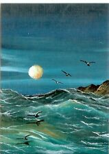 ACEO GLOSSY PRINT Seascape Collectible Ocean Sea Waves  Rocks Art Print HYMES
