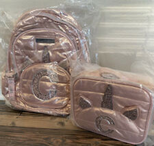 Justice Unicorn Rose Gold Pink Initial C Backpack Lunch Box Set NWT New