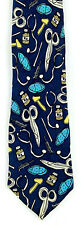 House Call Men's Medical Necktie Doctor Nurse Med Tools Silk Blue Neck Tie