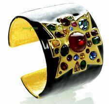 Kenneth J Lane KJL Black Enamel Maltese Cross Cuff Bracelet