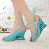 Fashion Women's Summer Roman Wedge Heel Peep Toe Slingback Sandals Shoes 3439-1