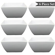 "Square White Melamine 6"" Soup Salad Pasta Dessert Bowls Set of 6 by bogo Brands"