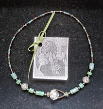 Unique Hand Beaded Necklace with Crystal, Glass and Antique Buttons Moss Agate