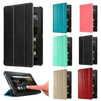 "Ultra Slim Leather Case Stand Cover for 7"" Amazon Kindle Fire HD 7 2015 Tablet"