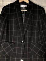 Kasper 8p NWT Black Plaid Blazer Wear to Work Jacket Size 8P