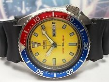 SEIKO 150M DIVERS DAY/DATE MEN'S WATCH 6309-7290, YELLOW/PEPSI