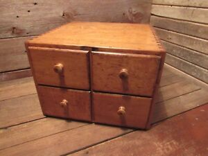 Antique Vintage 4 drawer Card Catalog File Wood Cabinet