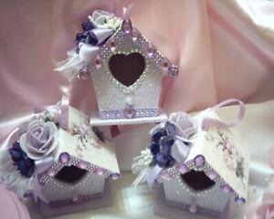Shabby Victorian Cottage~LAVENDER BIRDHOUSE Ornaments~Rose Design~Roses~Glitter