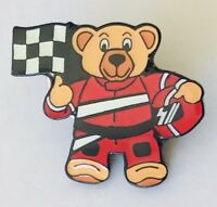 Formula One F1 Car Racing Teddy Bear Pin Badge Brooch Vintage (H12)