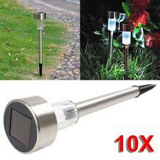 10x Solar Power LED Stainless Steel Landscape Lawn Garden Fence Light Outdoor LN