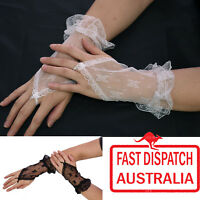 Ladies Punk Goth 20s 80s Party Costume Wrist Cuff Gloves Lace Fingeress Gauntlet