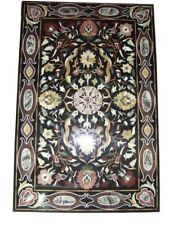 """48"""" x 32"""" Black Marble Dining Coffee Center Table Top Multi Inlay Mosaic Art"""