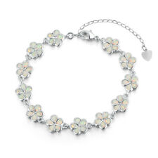 Women Jewelry Gemstone Chain Bracelet Os419 White Fire Opal Silver Flower for