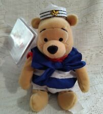 """THE DISNEY STORE BEAN BAG NAUTICAL POOH  8"""" - PRE OWNED - TAGS"""