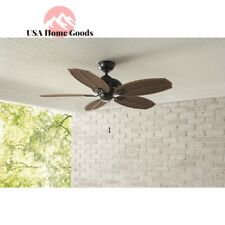 Palm Beach II 48 in. Indoor Outdoor Natural Iron Ceiling Fan Brown Wicker Tropic