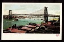 1904 boats Williamsburg bridge New York city postcard
