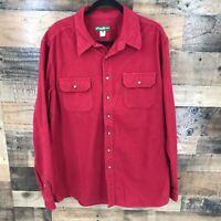 Eddie Bauer Men's Red Flannel Long Sleeve Button Up Shirt Size XLT