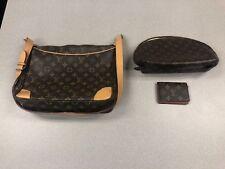 Lot of 3 - Authentic Louis Vuitton Pochette Handbag, Purse, and Wallet Has Wear.